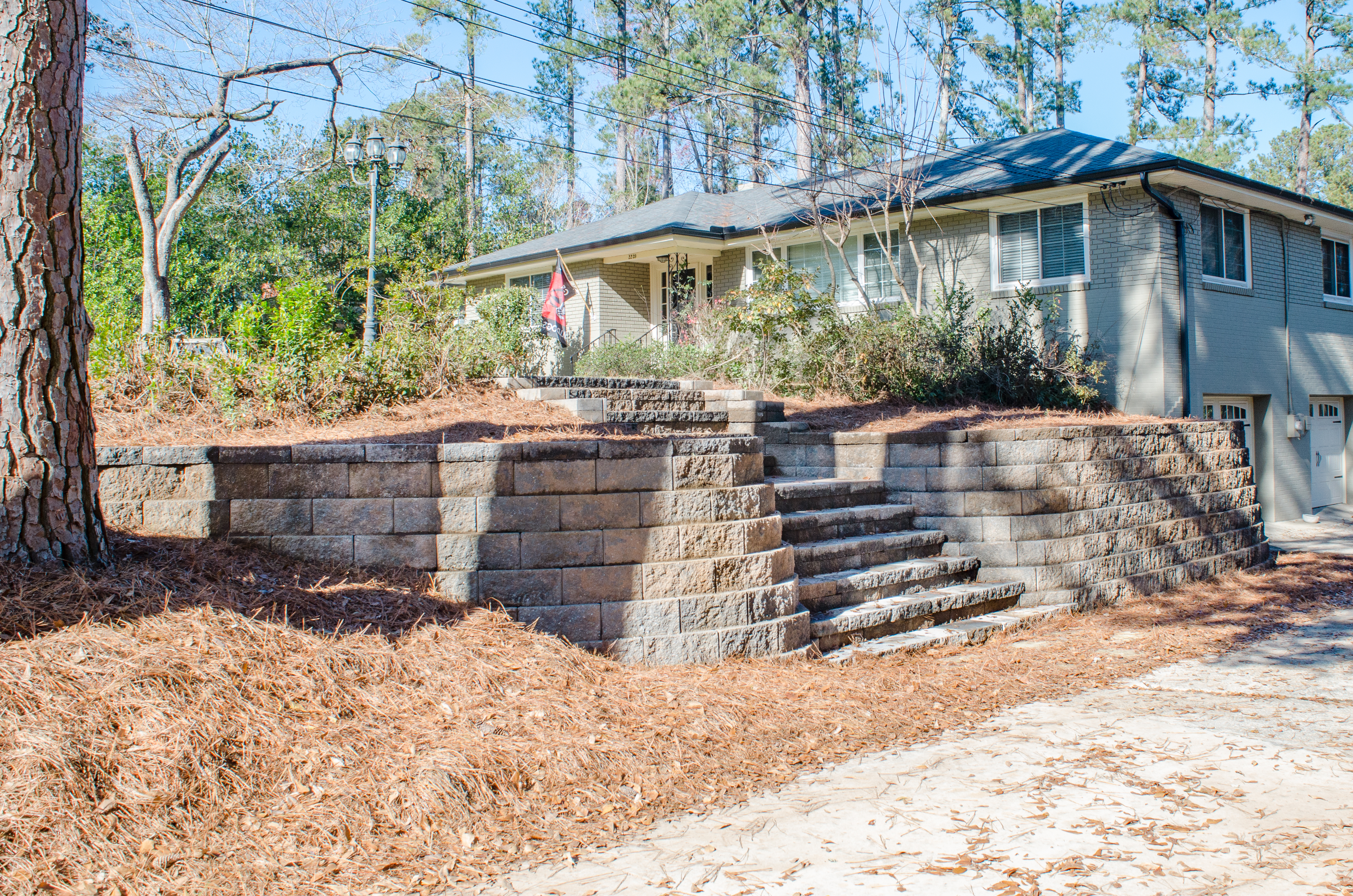 Retaining Wall With Stairs Aiken Sc