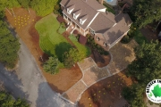 overhead-view-landscaping-Sunshine-Ligustrum-and-Dogwoods-and-paver-driveway-Between-the-Edges-landscaping-North-Augusta-SC